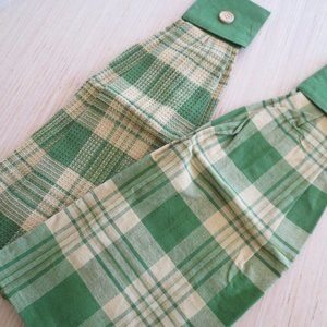 2 New Green/Gold Plaid Tea Kitchen Cotton Towels